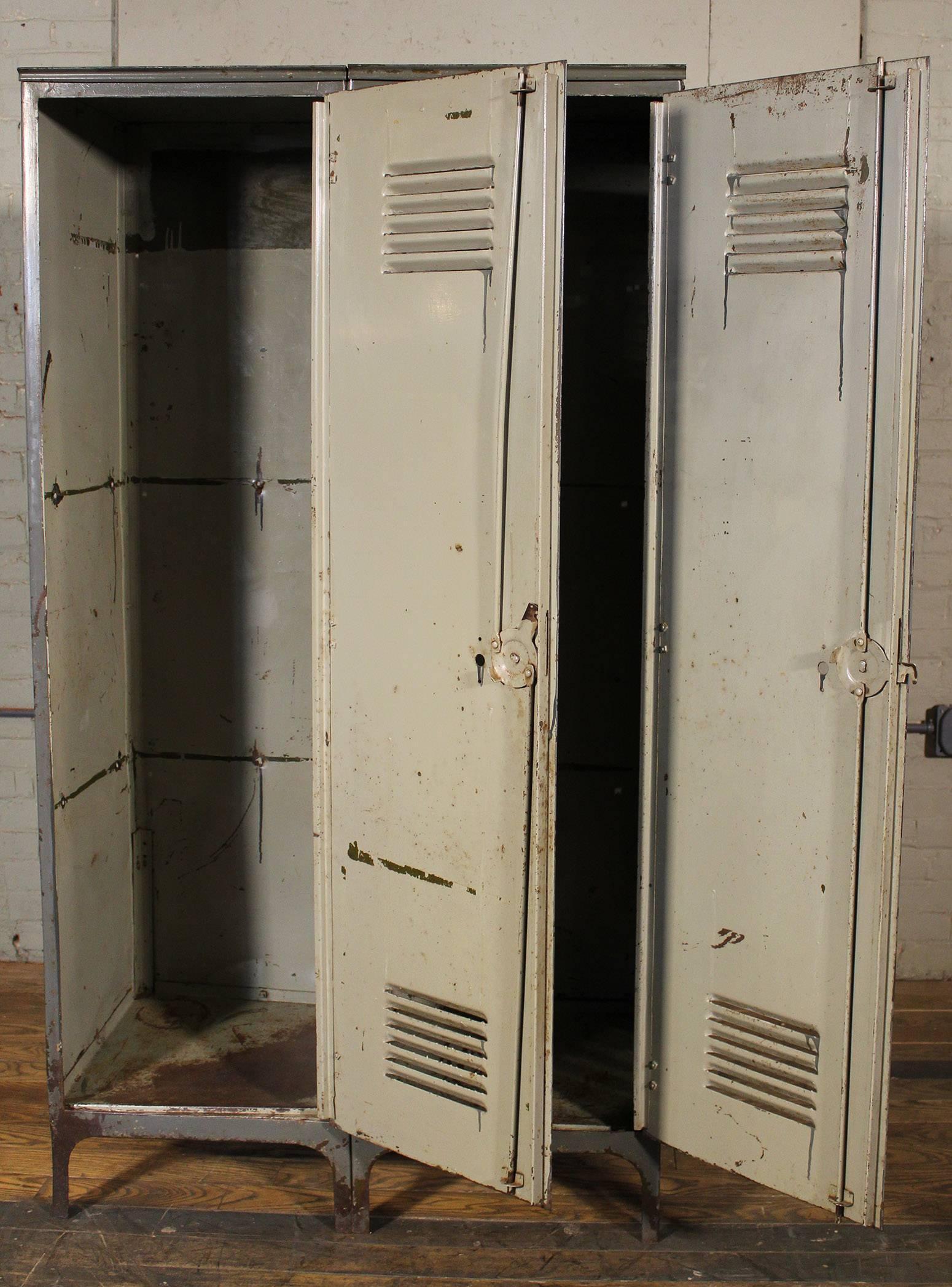 Vintage Pair Of Lockers Distressed Set Oversized Steel Metal Storage Gym  Sport For Sale At 1stdibs