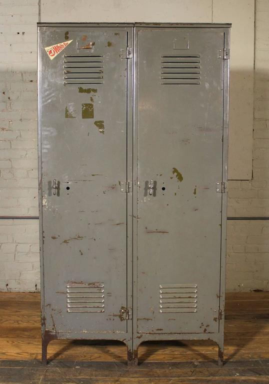 Vintage Pair Of Lockers Distressed Set Oversized Steel