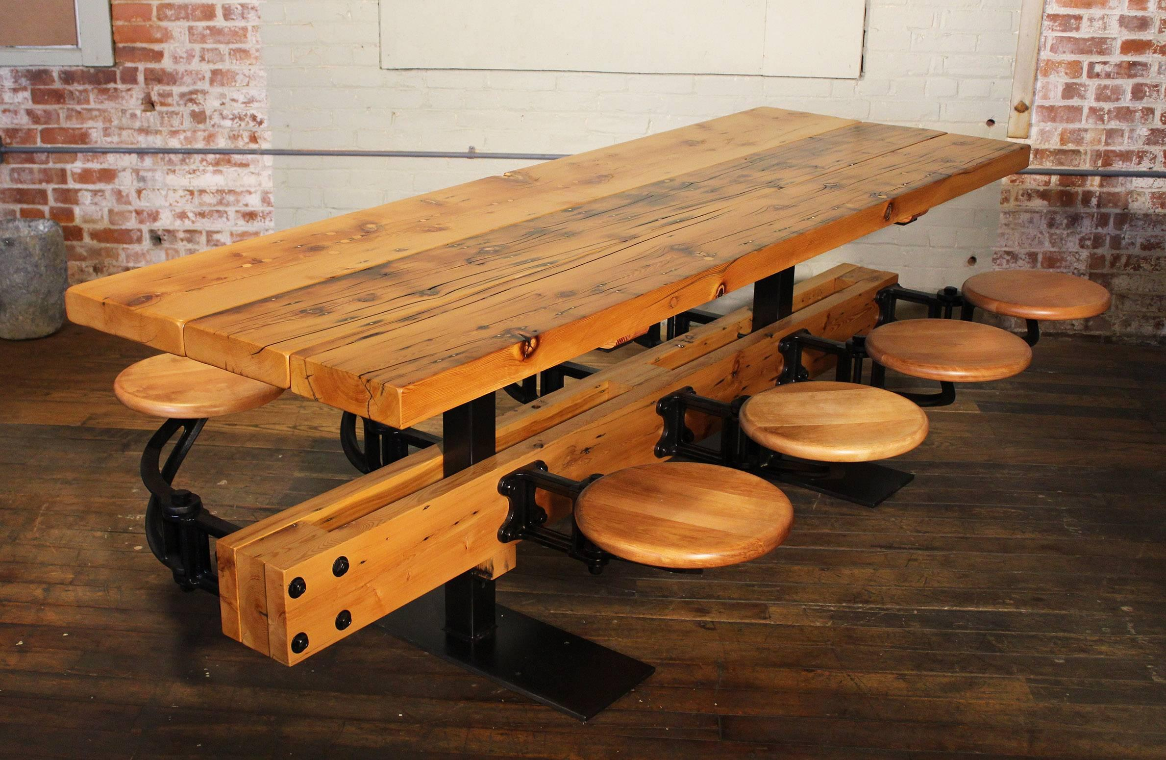 Dining Table With Chairs Reclaimed Wood And Cast Iron Eight Seat Indoor Picnic For At 1stdibs