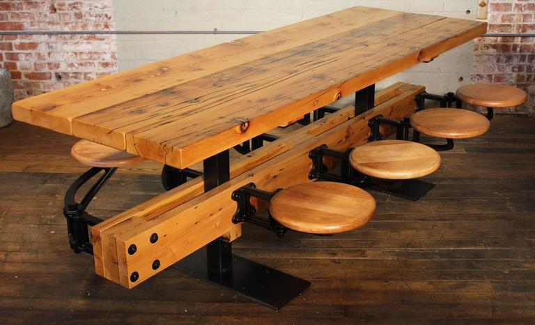 Steel Dining Table With Chairs, Reclaimed Wood And Cast Iron Eight Seat  Indoor Picnic