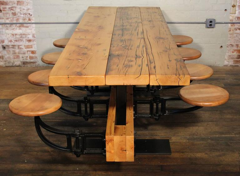 Modern Dining Table With Chairs Reclaimed Wood And Cast Iron Eight Seat Indoor Picnic