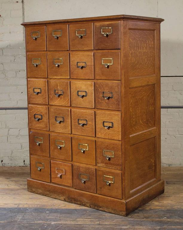 20th Century Vintage Industrial Multi-Drawer Oakwood Storage Cabinet For Sale