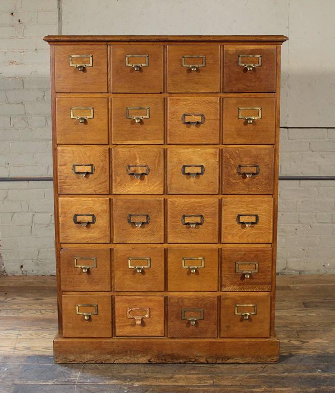 Wood Vintage Industrial Multi-Drawer Oakwood Storage Cabinet For Sale