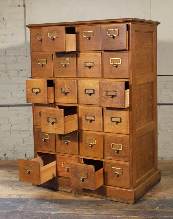 Vintage Industrial Multi-Drawer Oakwood Storage Cabinet For Sale 2