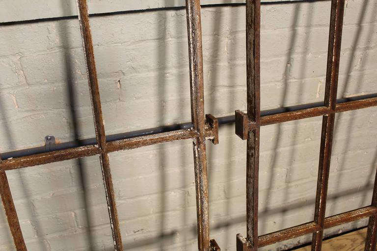 20th Century Distressed Architectural Cast Iron Mental Asylum Window Ventilation Grills, Bar For Sale