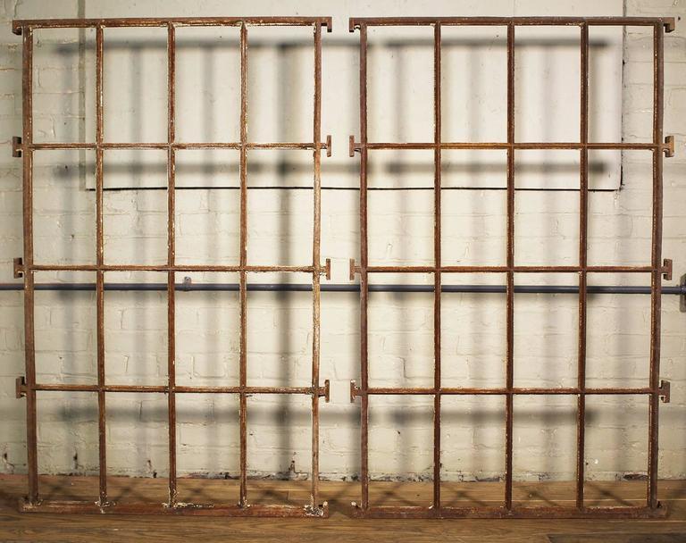 Distressed Architectural Cast Iron Mental Asylum Window Ventilation Grills, Bar For Sale 2