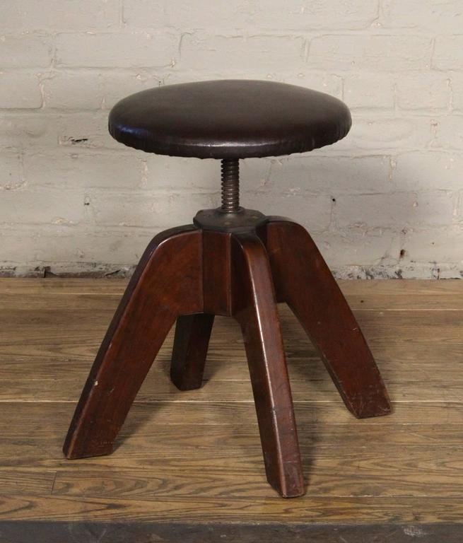 Stool Mid Century Modern Medical Wood And Steel Backless