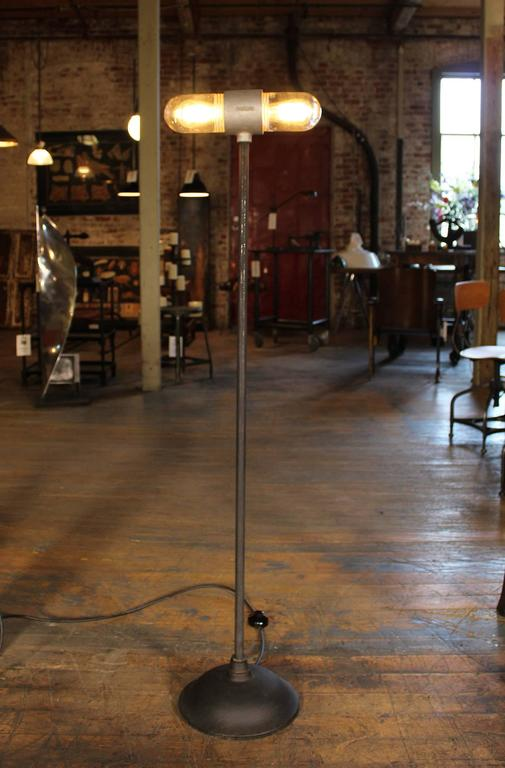 Stage Light, Ghost Floor Lamp, Cast Iron and Glass Two Headed Edison Bulbs 2