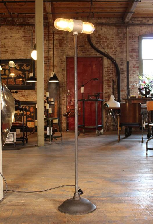 Stage Light, Ghost Floor Lamp, Cast Iron and Glass Two Headed Edison Bulbs 3