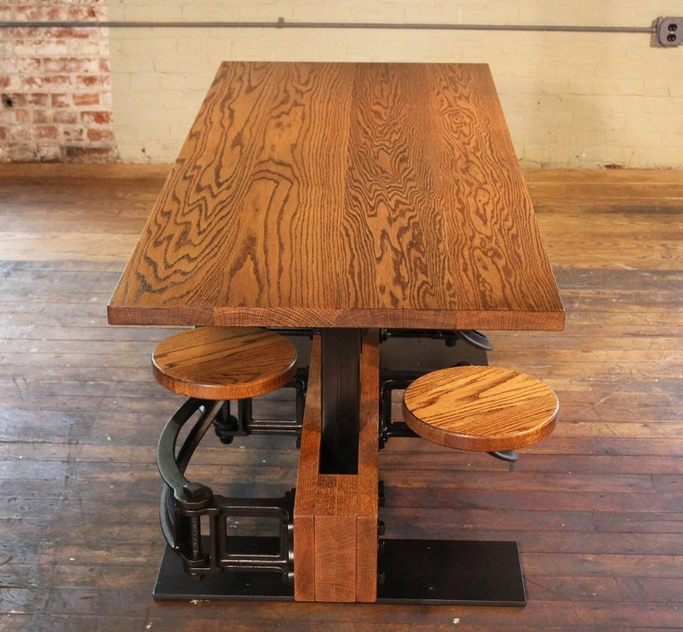 Oak Dining Table With Attached Swing Out Seats Chairs For
