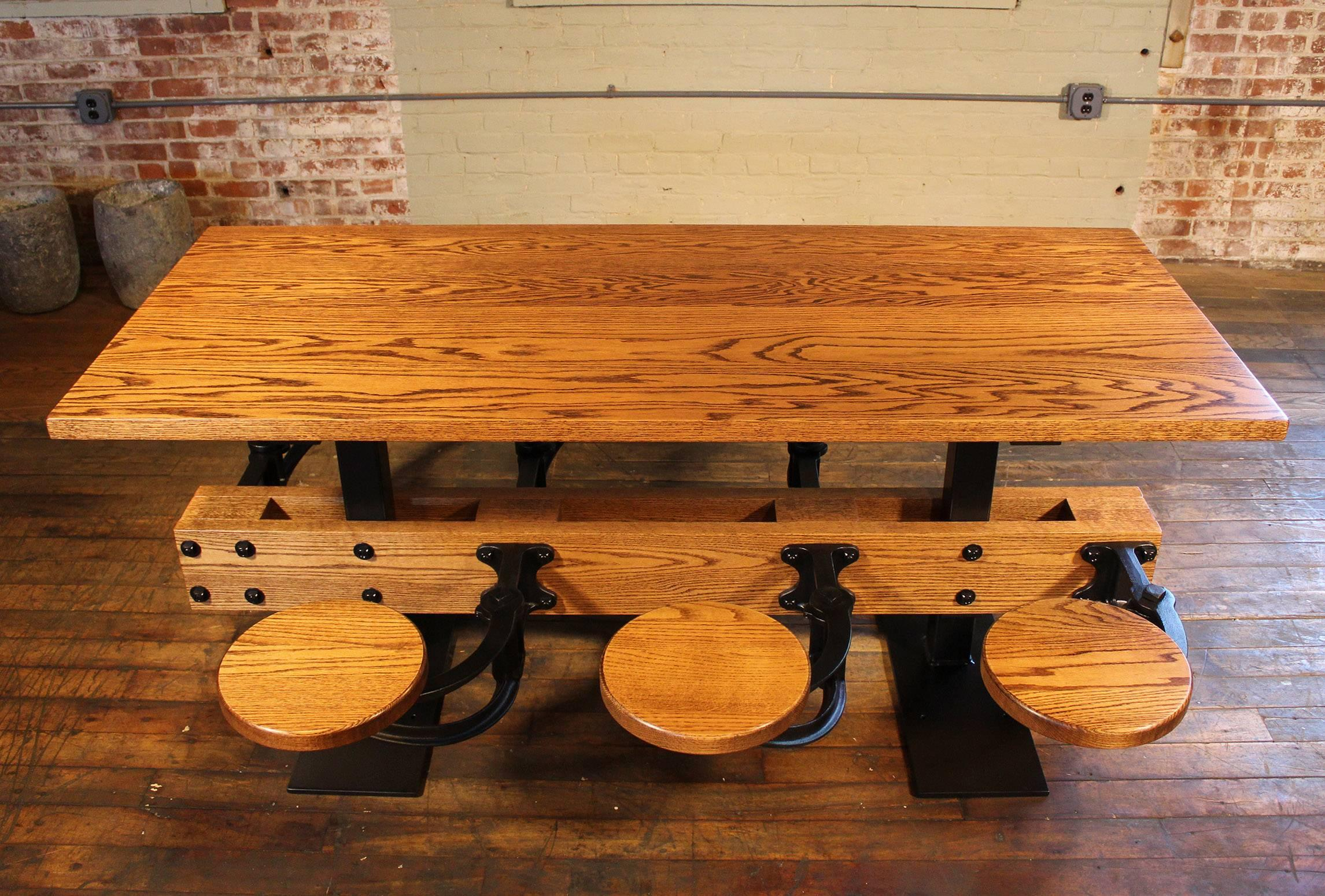 Oak Dining Table With Attached Swing Out Seats, Chairs, Cafe For Sale At  1stdibs