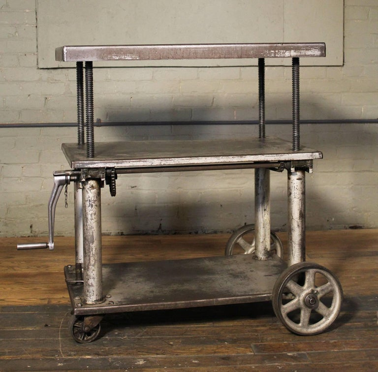 Rolling Table Lift Cart Vintage Industrial Adjustable