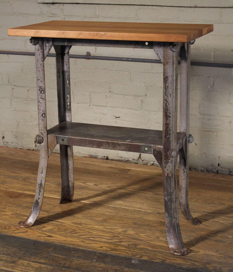 Side Table Vintage Industrial Two Tier Wood And Metal