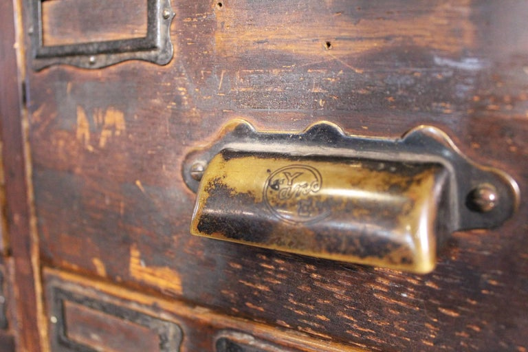 Rolling Apothecary Wood Storage Cabinet, Vintage Industrial with Brass Hardware 7