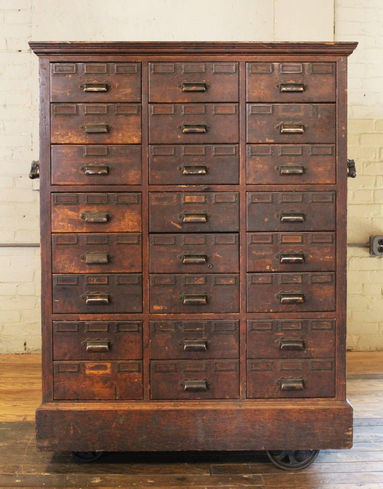 Rolling Apothecary Wood Storage Cabinet, Vintage Industrial with Brass Hardware 6