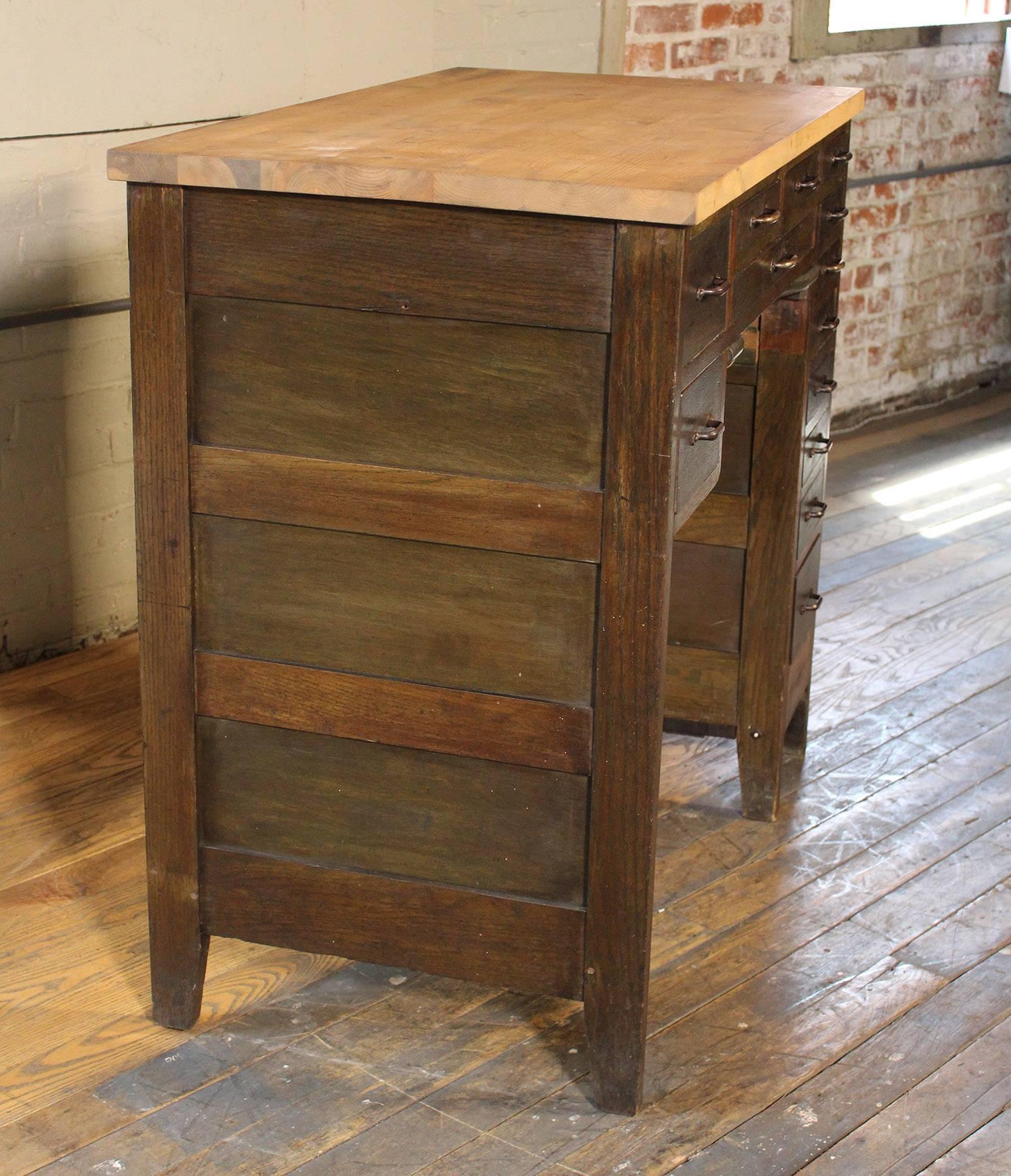 American Jewelers Workbench, Desk, Cabinet, Wooden Vintage Industrial  Storage For Sale