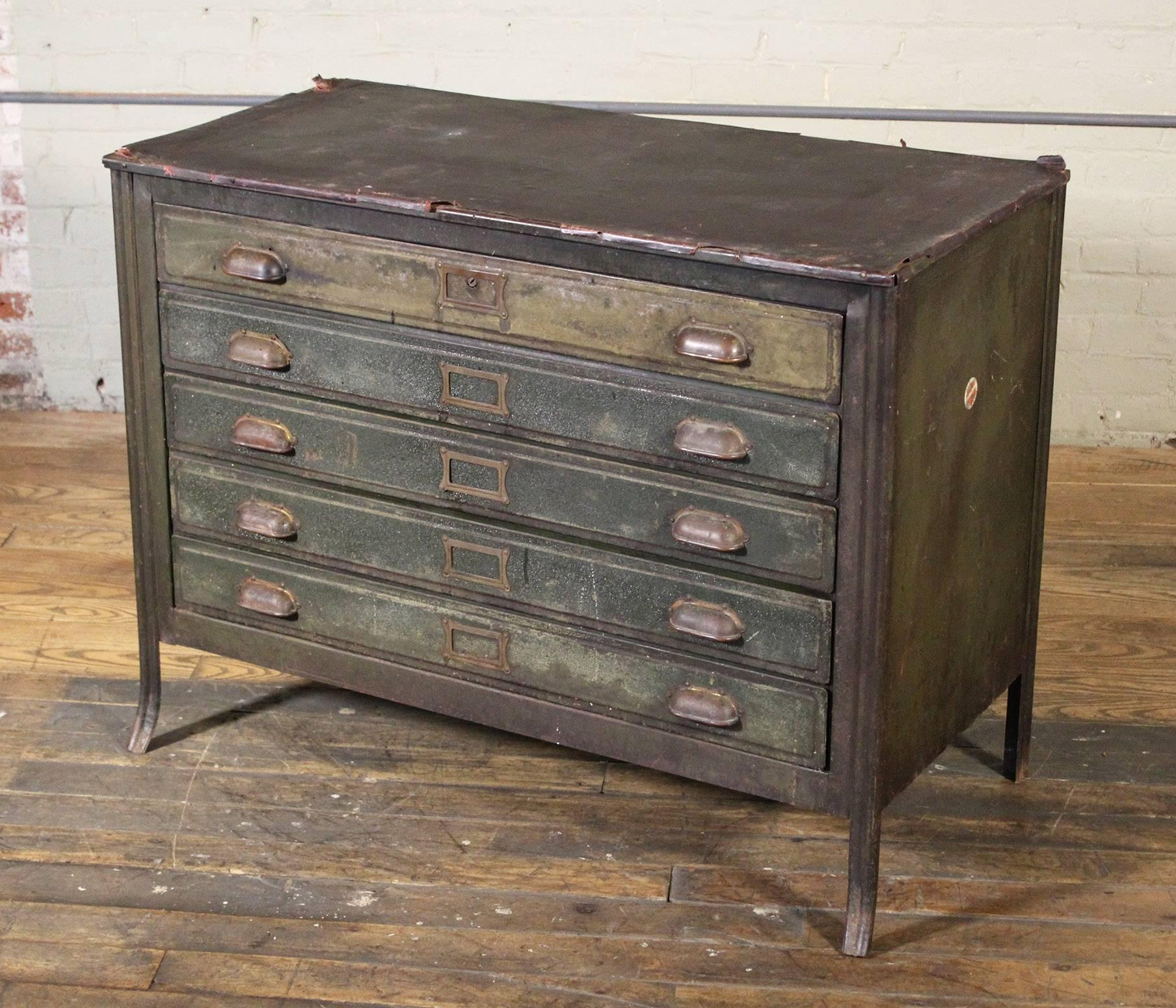Metal Lateral File Storage Cabinet Vintage Industrial Table Worn Leather  Top At 1stdibs