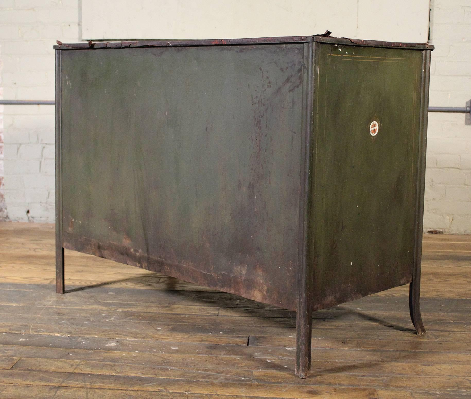 Metal Lateral File Storage Cabinet Vintage Industrial Table Worn Leather  Top For Sale 5