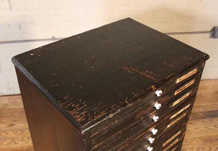 Wooden Flat File Storage Cabinet Vintage Industrial Multi