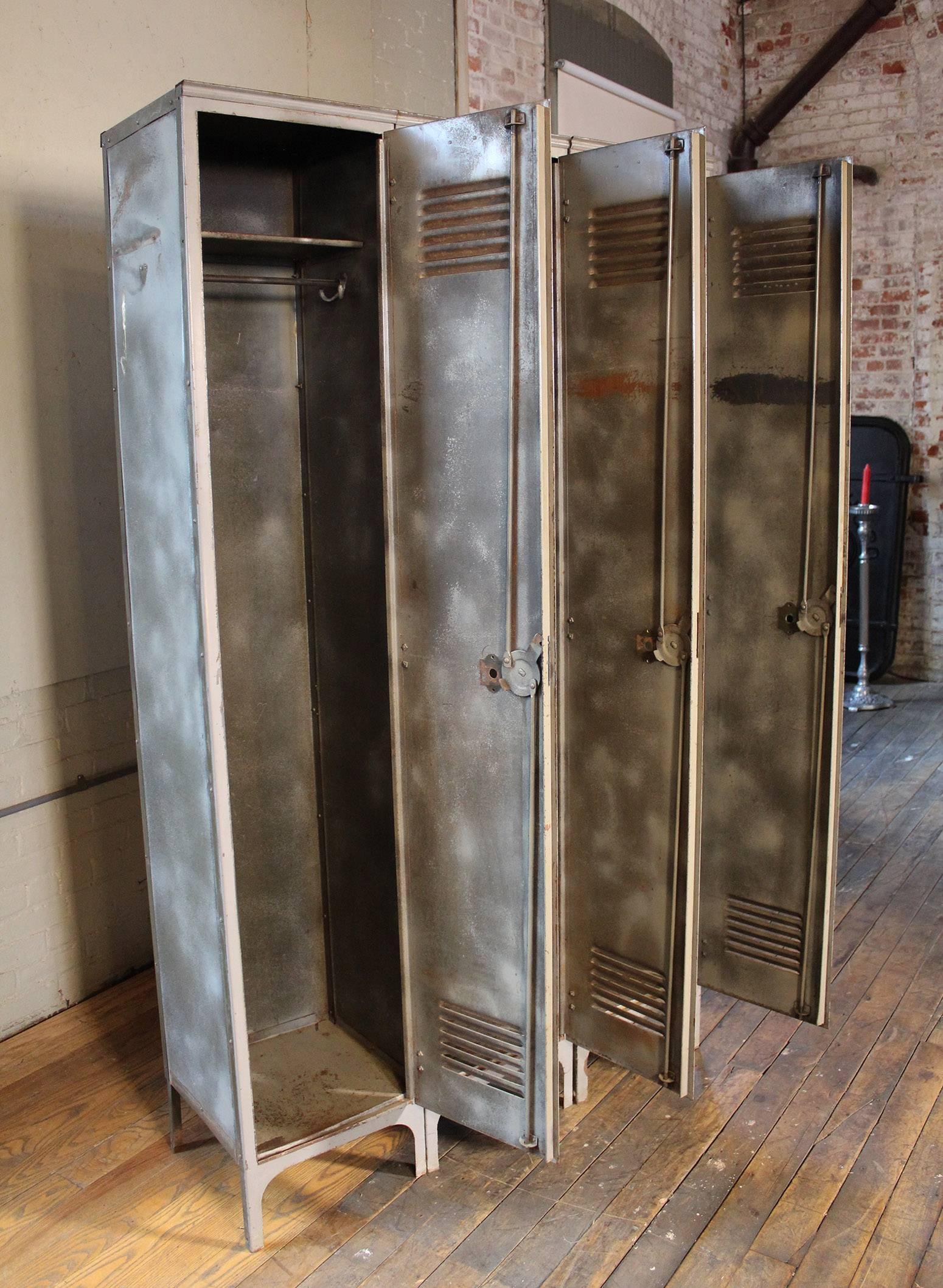 Storage Lockers Vintage Industrial Set Of Three Metal Steel Gym School 2