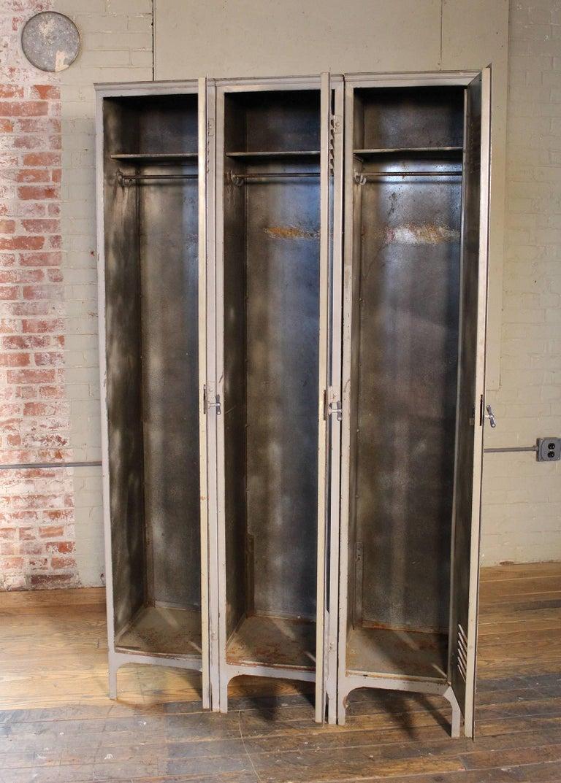 Storage Lockers Vintage Industrial Set Of Three Metal Steel Gym
