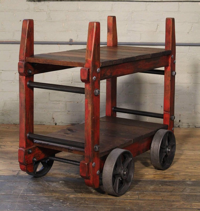 Cast Bar Cart Rolling Wood and Metal Industrial Two-Tier Side Table on Wheels For Sale