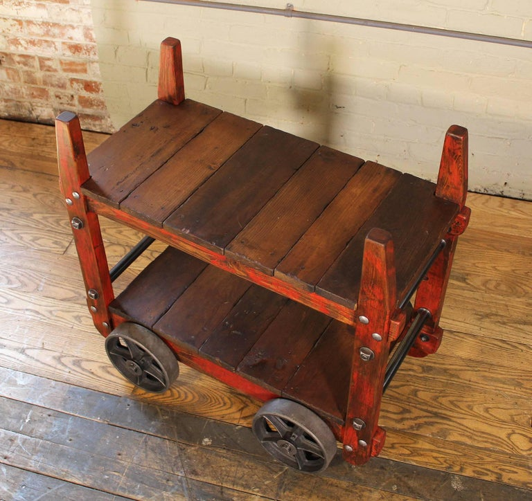 Bar Cart Rolling Wood and Metal Industrial Two-Tier Side Table on Wheels For Sale 1