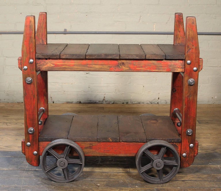 American Bar Cart Rolling Wood and Metal Industrial Two-Tier Side Table on Wheels For Sale
