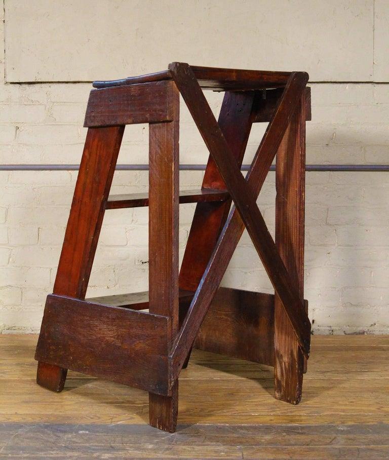 Wooden Step Ladder Vintage Antique Moveable Wood Factory