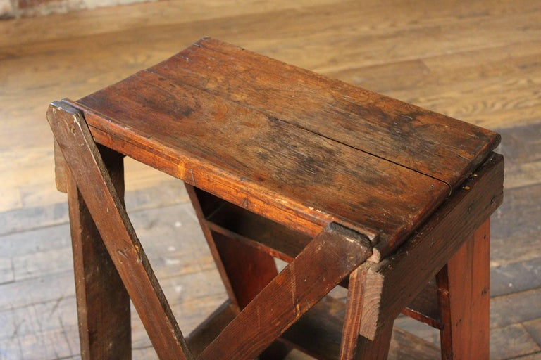 Wooden Step Ladder Vintage Antique Moveable Wood Factory
