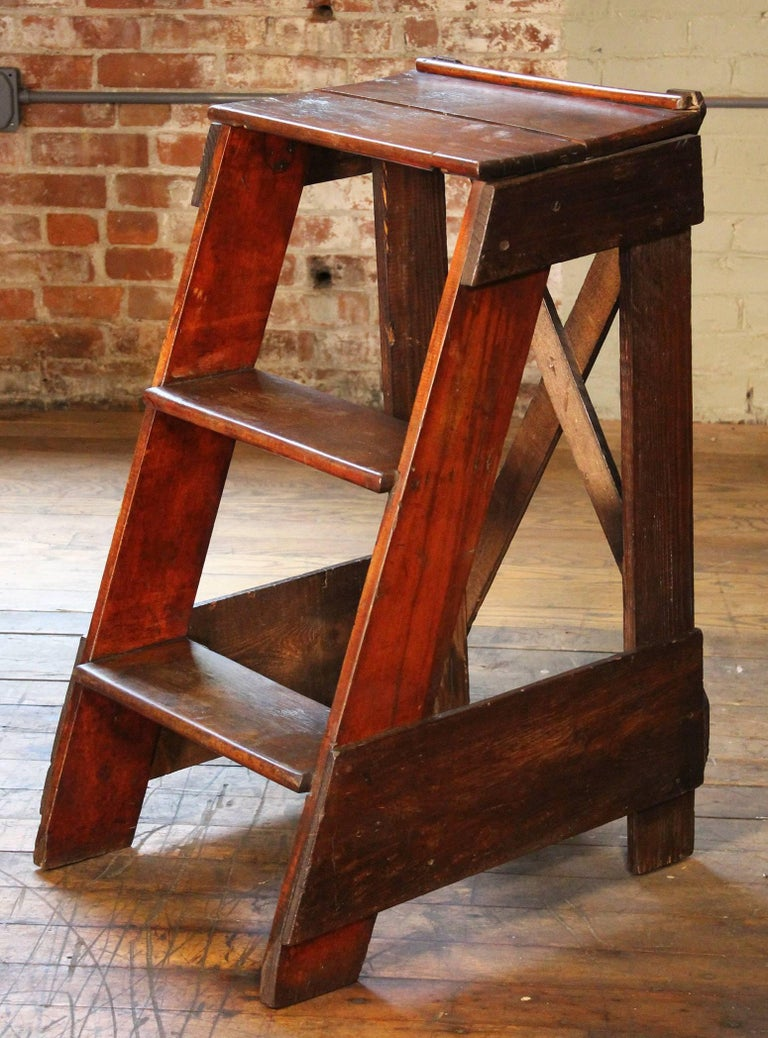 Wooden Step Ladder Vintage Antique Moveable Wood Factory ...
