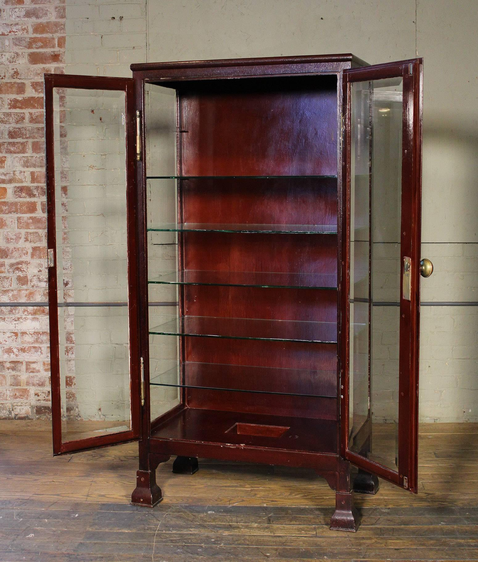 Mission Curio Cabinet Glass And Metal Medical Storage Vintage Industrial  Cupboard Unit For Sale
