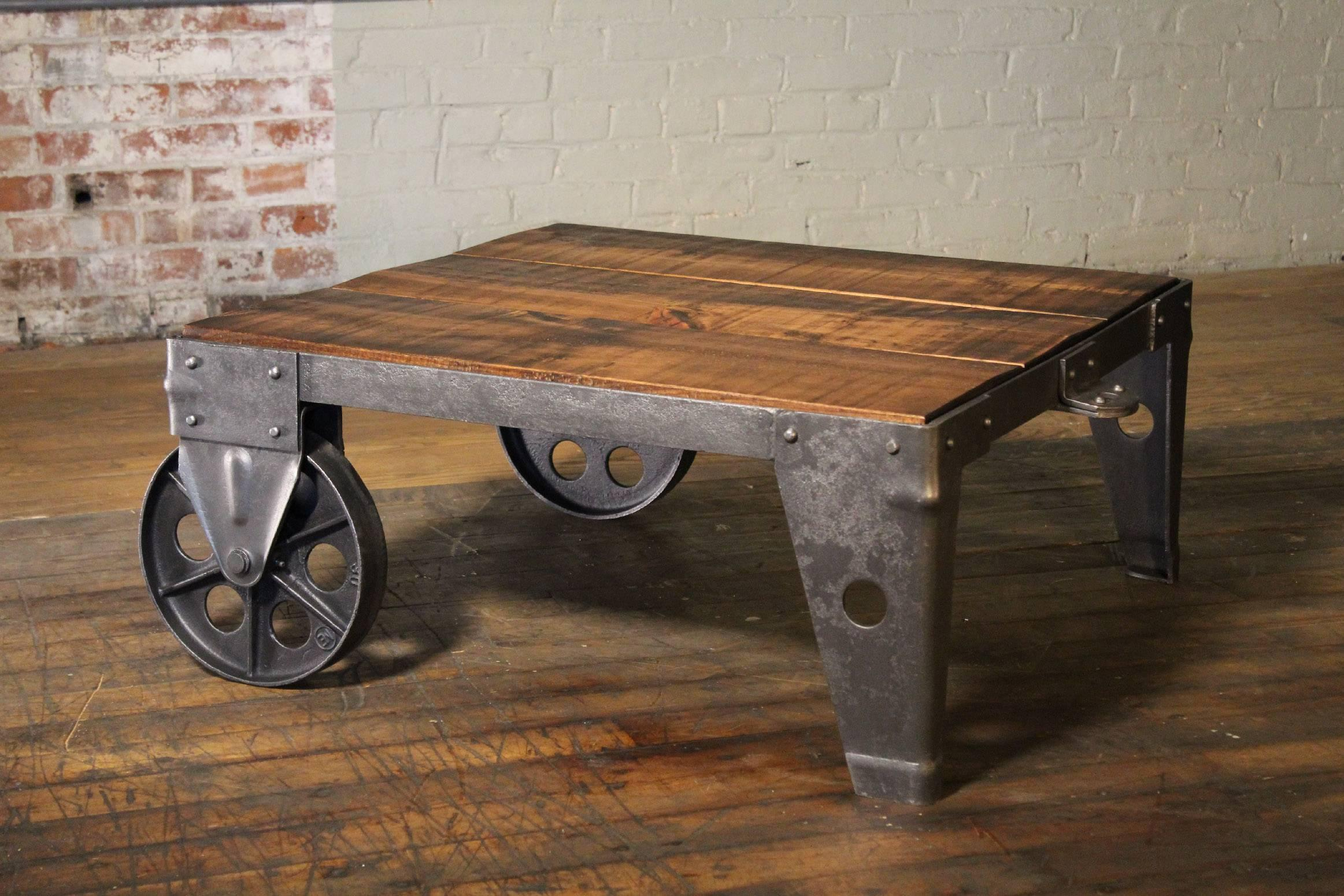 Authentic, Original Vintage Industrial Modern Coffee Table Or Cart, Made  From Rough Sawn Pine