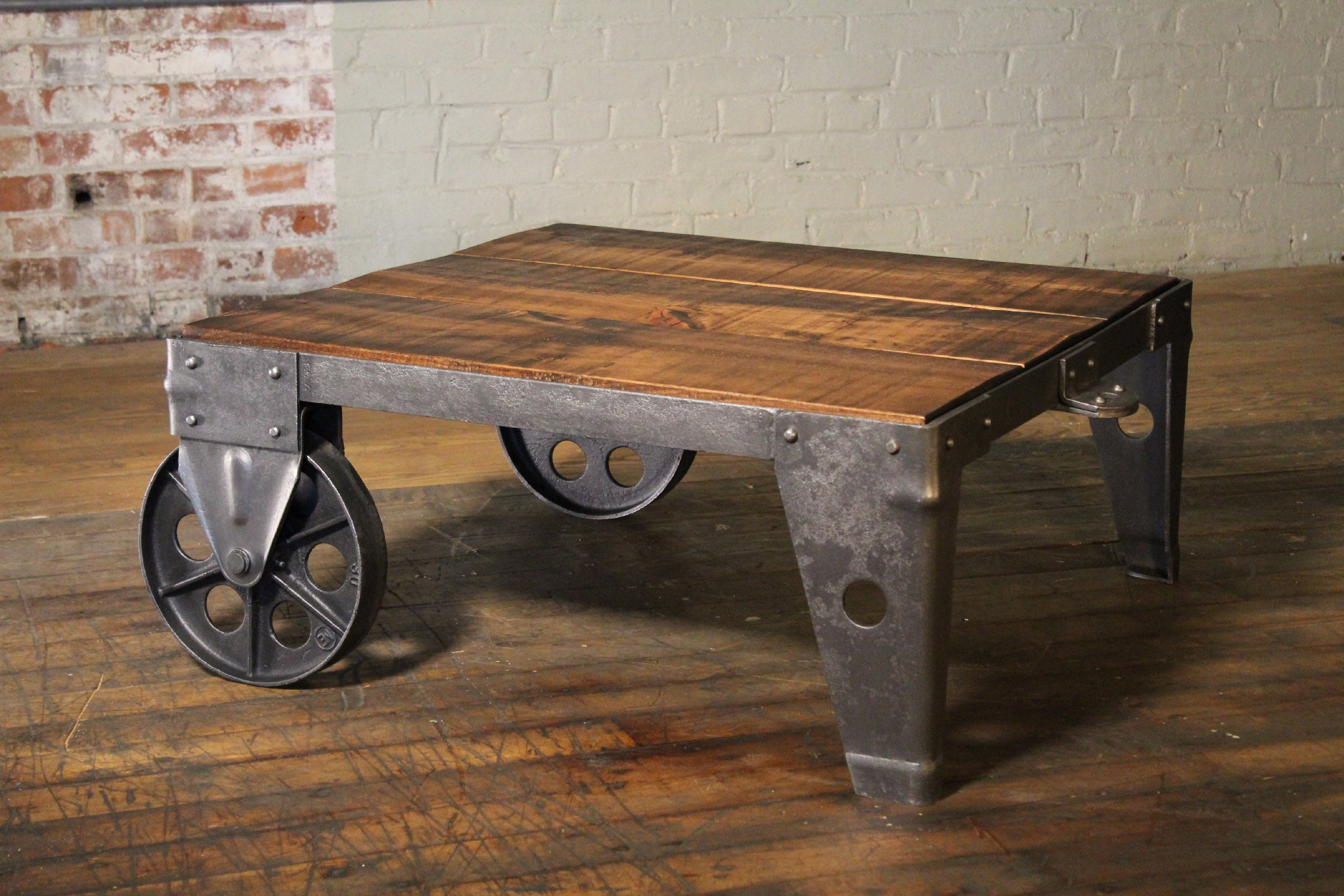 Fine Authentic Vintage Industrial Cart Coffee Table Factory Shop Wood Steel And Iron Gamerscity Chair Design For Home Gamerscityorg