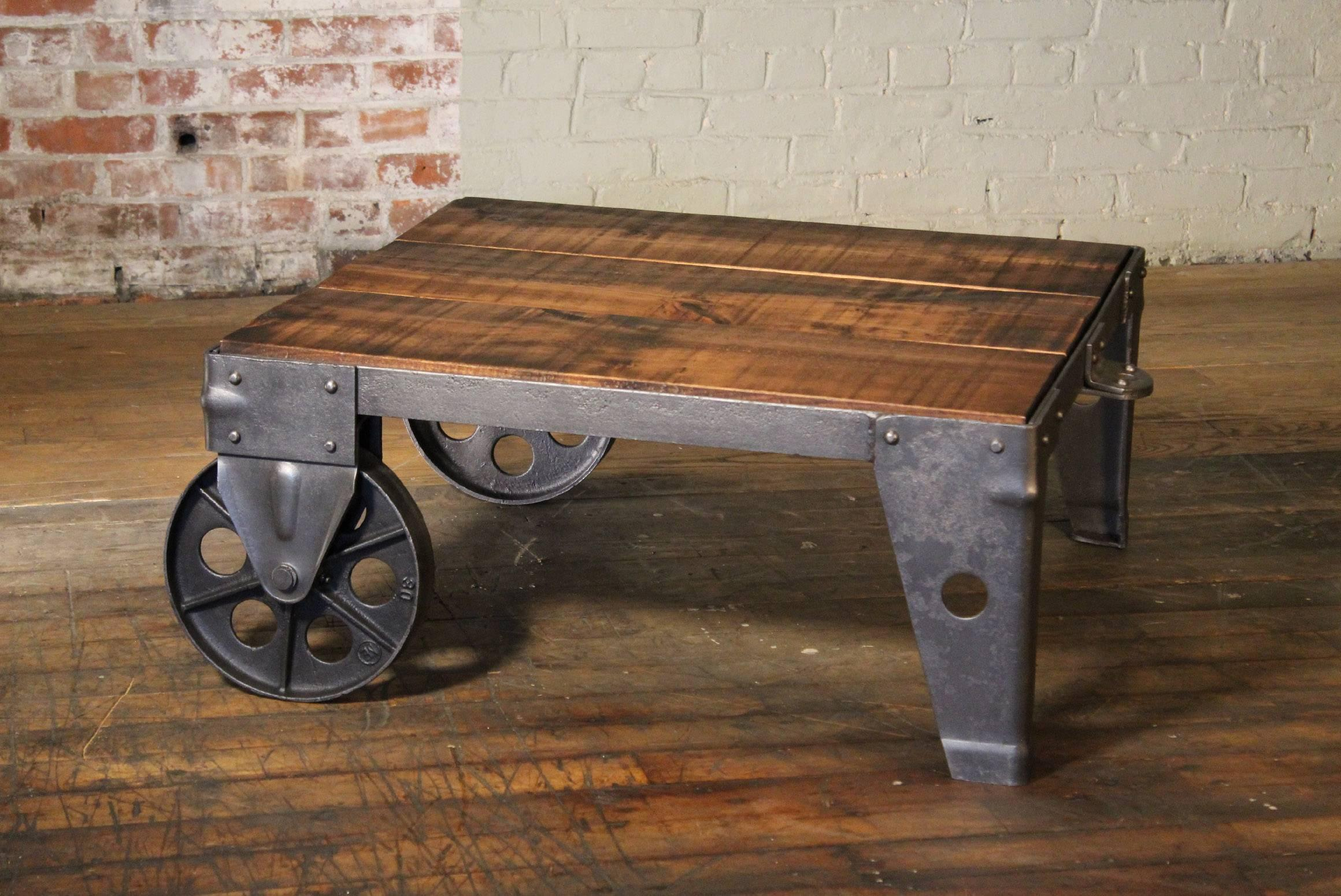 Authentic Vintage Industrial Cart Coffee Table Factory Shop Wood Steel And Iron For Sale At 1stdibs