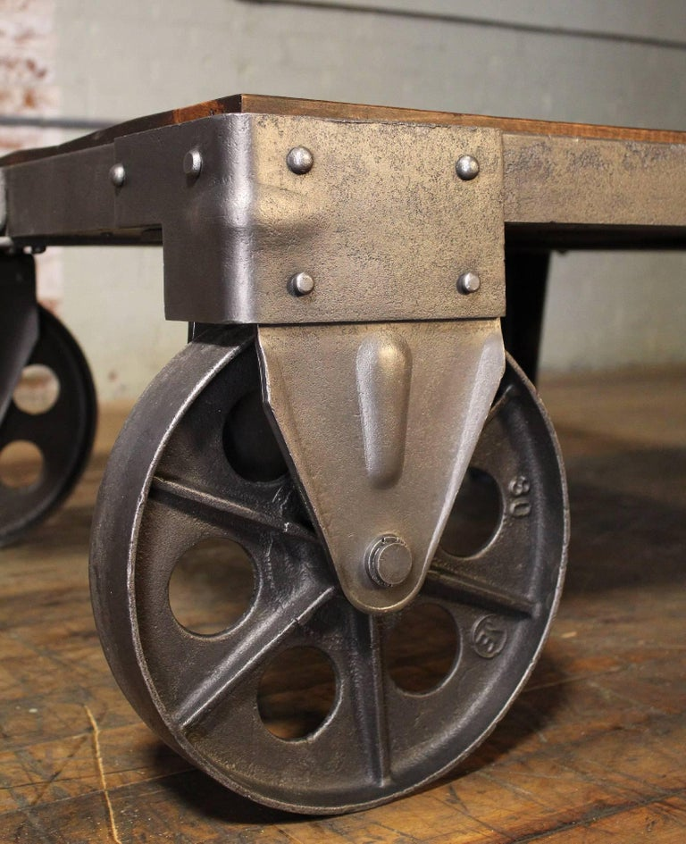 Vintage Industrial Iron Transfer Cart Coffee Table: Authentic Vintage Industrial Cart Coffee Table Factory