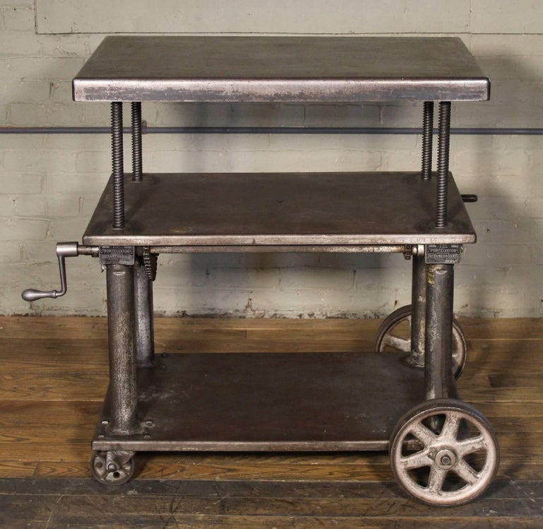 Vintage Industrial Iron Transfer Cart Coffee Table: Bar Cart, Rolling Table Vintage Industrial Adjustable