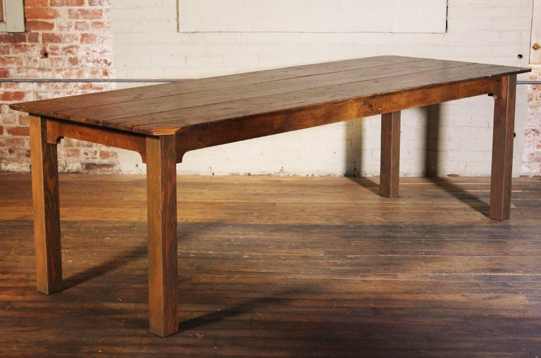 Reclaimed wood tobacco sorting farm dining harvest conference table. The pine tops were originally used as tobacco sorting tables in New England. Beautifully aged wood with rich history. Table measures 95 3/4