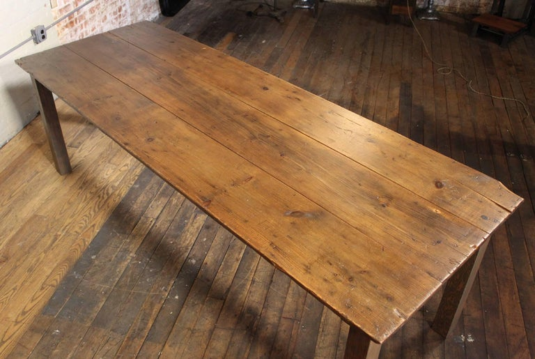 Contemporary Farm Dining Table Reclaimed Tobacco Sorting Harvest Wood from Connecticut For Sale