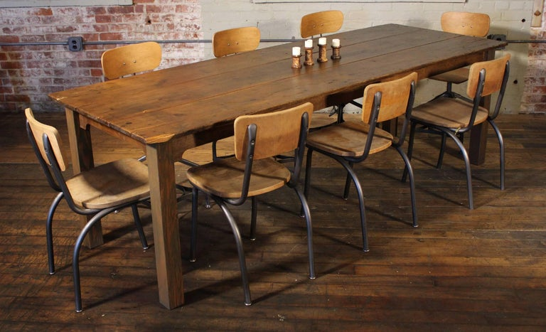 Rustic Farm Dining Table Reclaimed Tobacco Sorting Harvest Wood from Connecticut For Sale