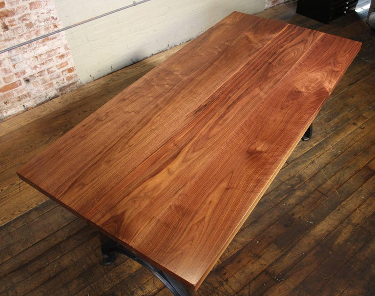 Steel Bespoke Walnut Desk with Cast Iron Legs Industrial Modern Work Custom Table For Sale