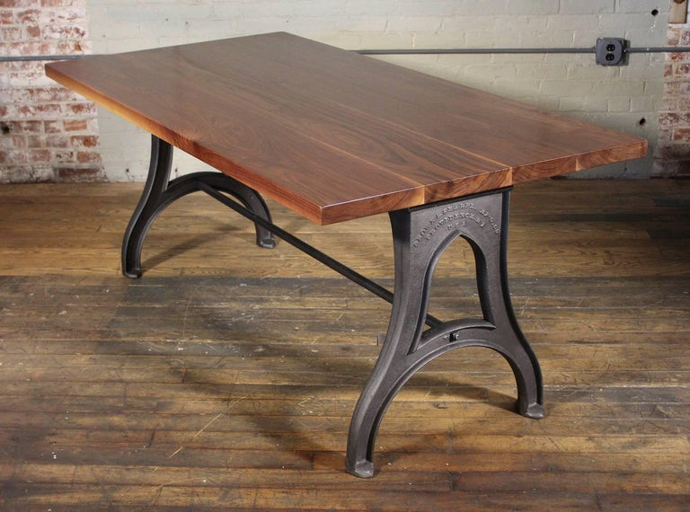 American Bespoke Walnut Desk with Cast Iron Legs Industrial Modern Work Custom Table For Sale