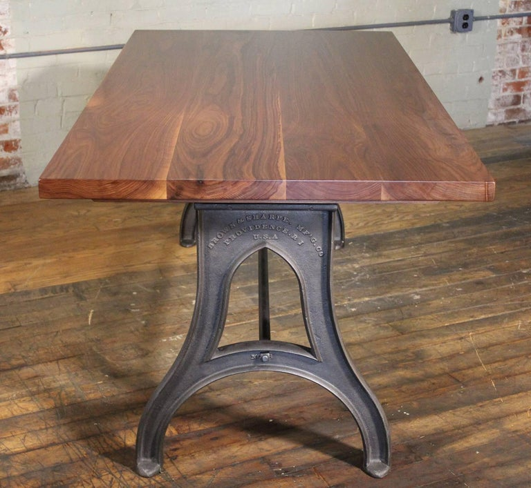 Bespoke Walnut Desk with Cast Iron Legs Industrial Modern Work Custom Table In Good Condition For Sale In Oakville, CT
