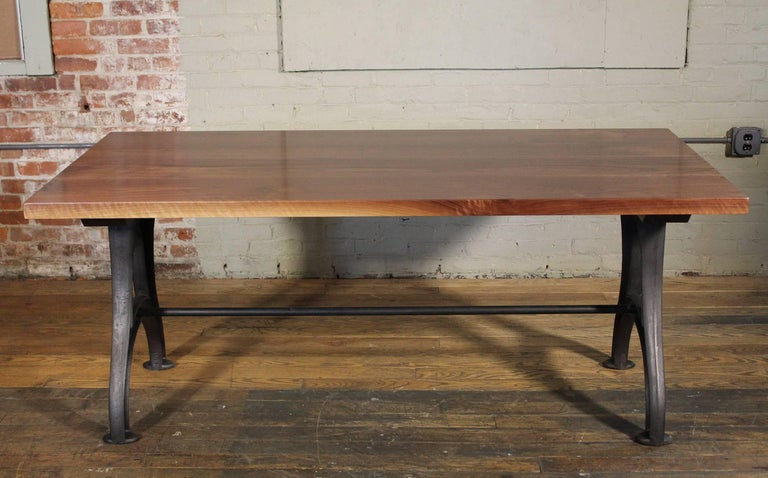 Contemporary Bespoke Walnut Desk with Cast Iron Legs Industrial Modern Work Custom Table For Sale