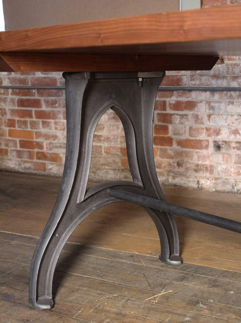 Bespoke Walnut Desk with Cast Iron Legs Industrial Modern Work Custom Table For Sale 2