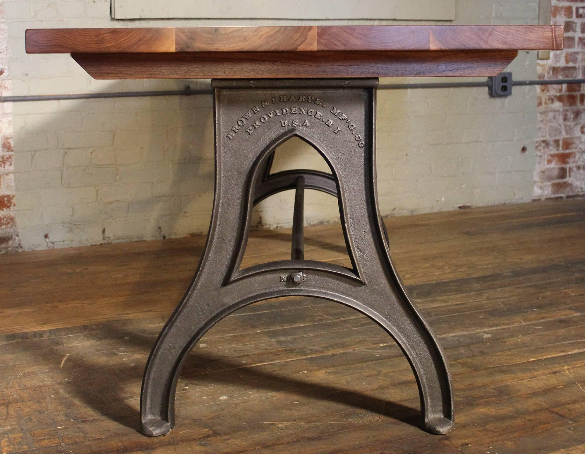 Bespoke Walnut Desk With Cast Iron Legs Industrial Modern Work Custom Table  For Sale 4