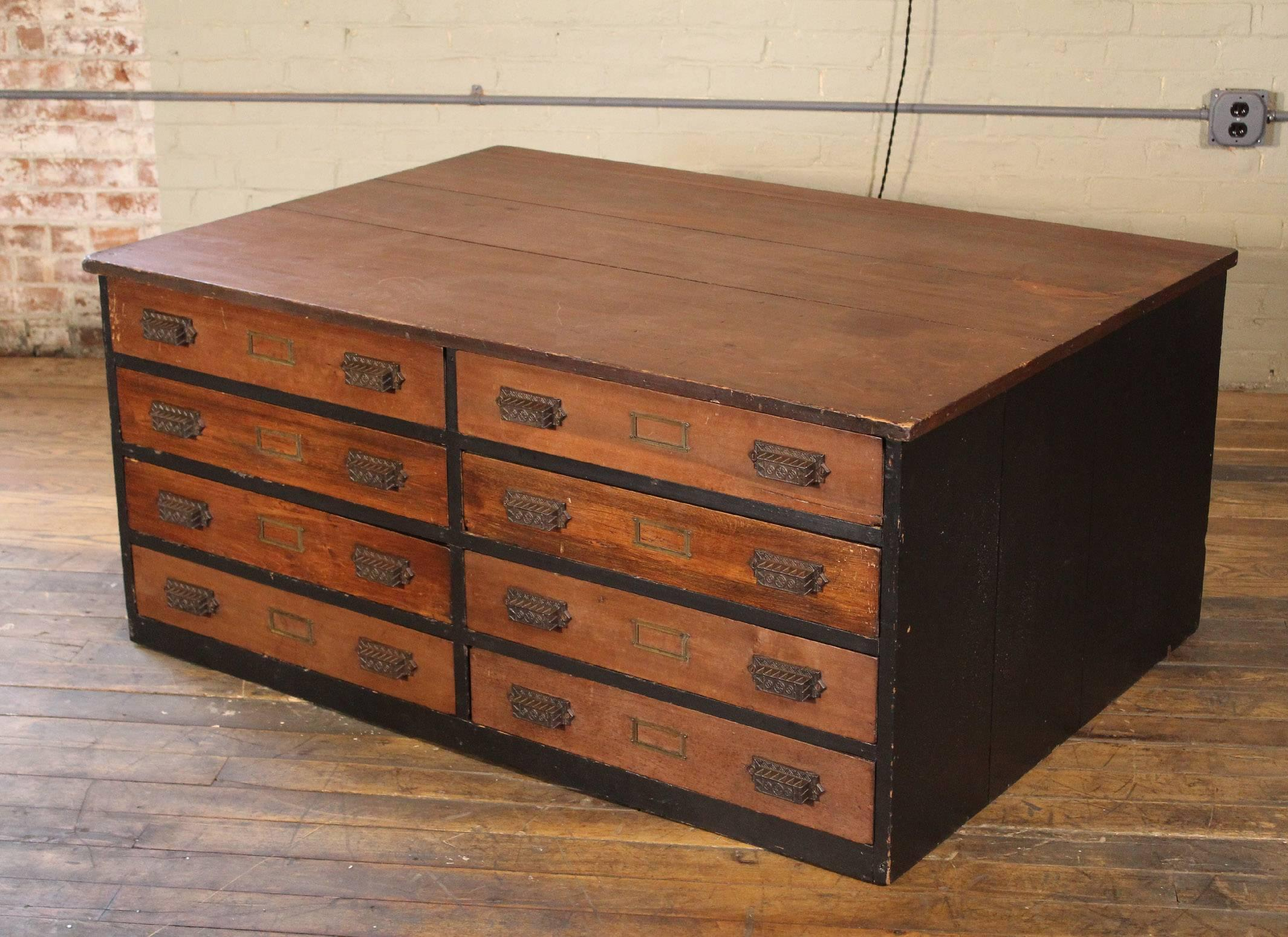 Wooden Storage Flat File Cabinet Or Coffee Table Industrial Modern At  1stdibs