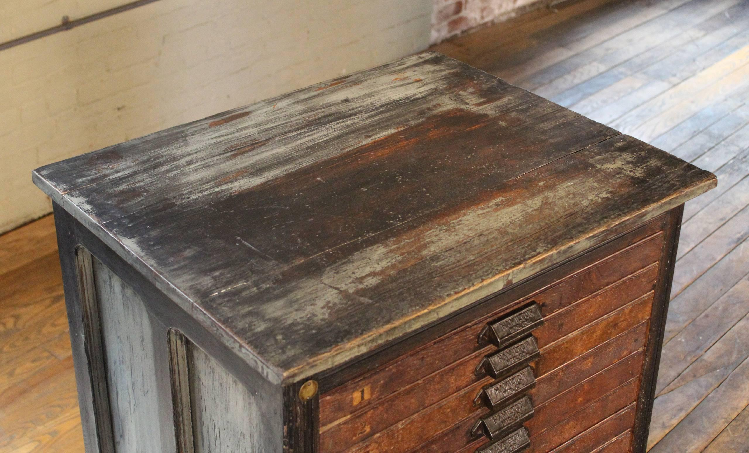 American Vintage Hamilton Wooden Flat File Storage Cabinet Distressed  Industrial For Sale