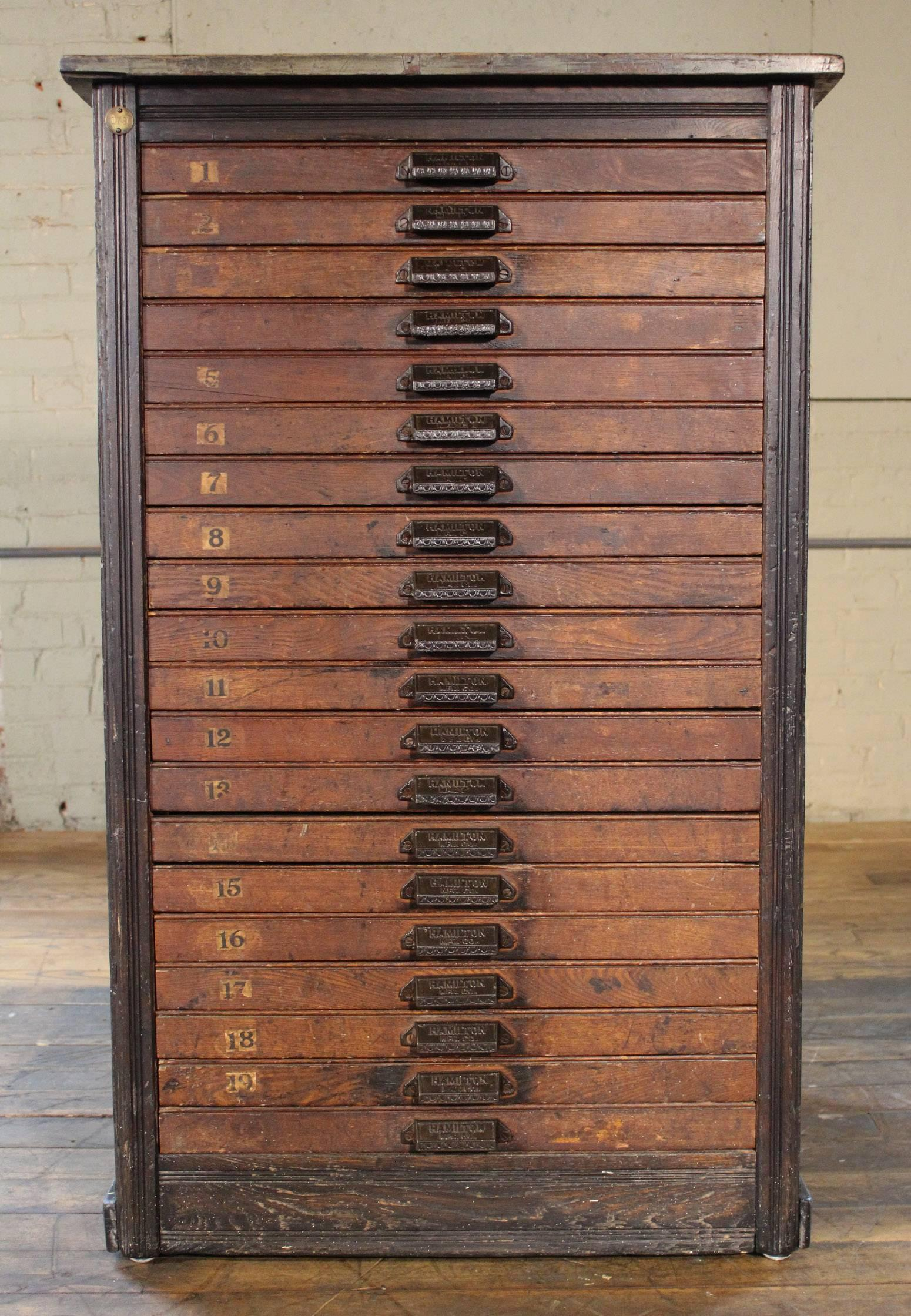 Metal Vintage Hamilton Wooden Flat File Storage Cabinet Distressed  Industrial For Sale