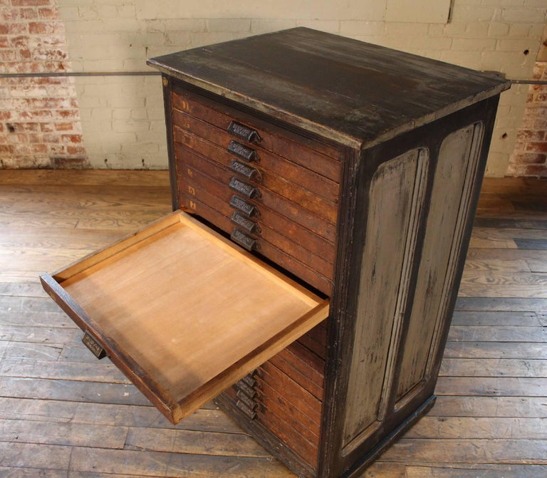 Vintage Hamilton Wooden Flat File Storage Cabinet Distressed Industrial For  Sale 3 - Vintage Hamilton Wooden Flat File Storage Cabinet Distressed